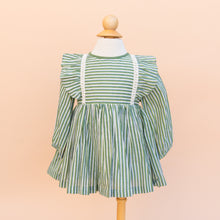 Cotton Ruffle Dress in Green Stripe