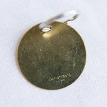 Load image into Gallery viewer, back view brass fuck it keychain from los angeles