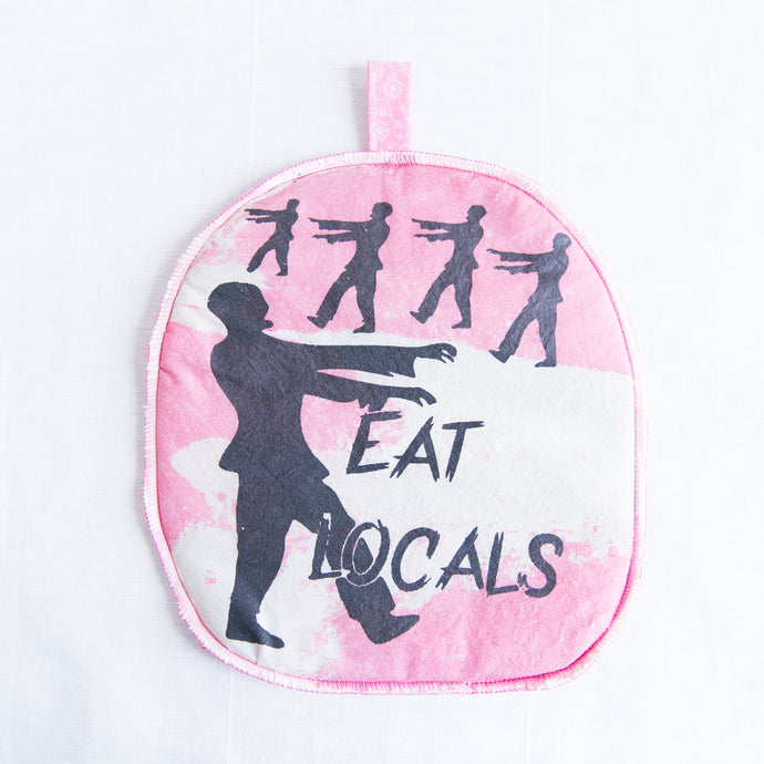 front of zombie silk-screened potholder