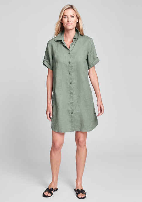 Front view of Flax linen shirt dress in moss