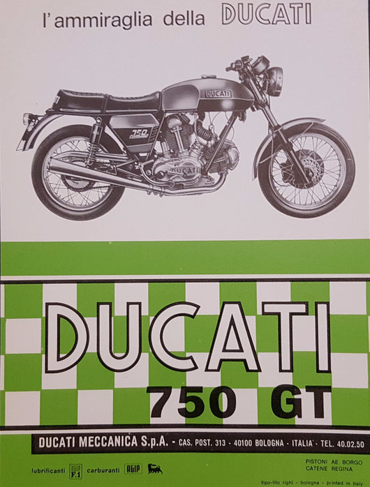 Ducati 750 GT Original Single Page Brochure