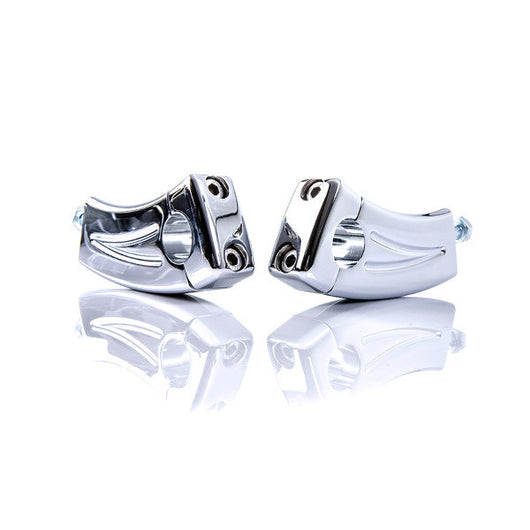 British Customs Curved Bar Clamps Triple Trees Risers CHROME SpeedMaster BC305-010-C