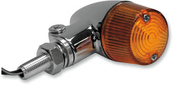 K&S Cafe Bullet Turn Marker Signal Blinker Brushed Alloy Amber Lens Pair 25-8330