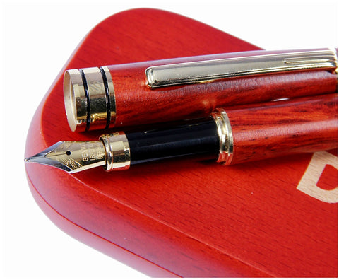 LUXURY ROSEWOOD FOUNTAIN PEN WITH GIFT CASE