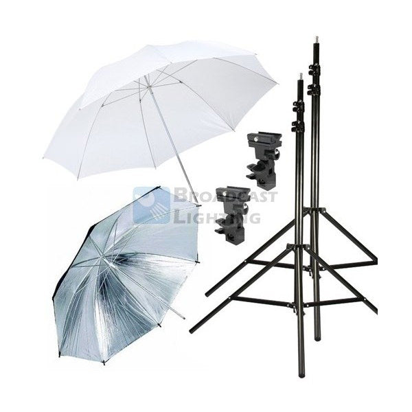 "33"" Speed Light Stand Mount Umbrella - Kit C - Broadcast Lighting"
