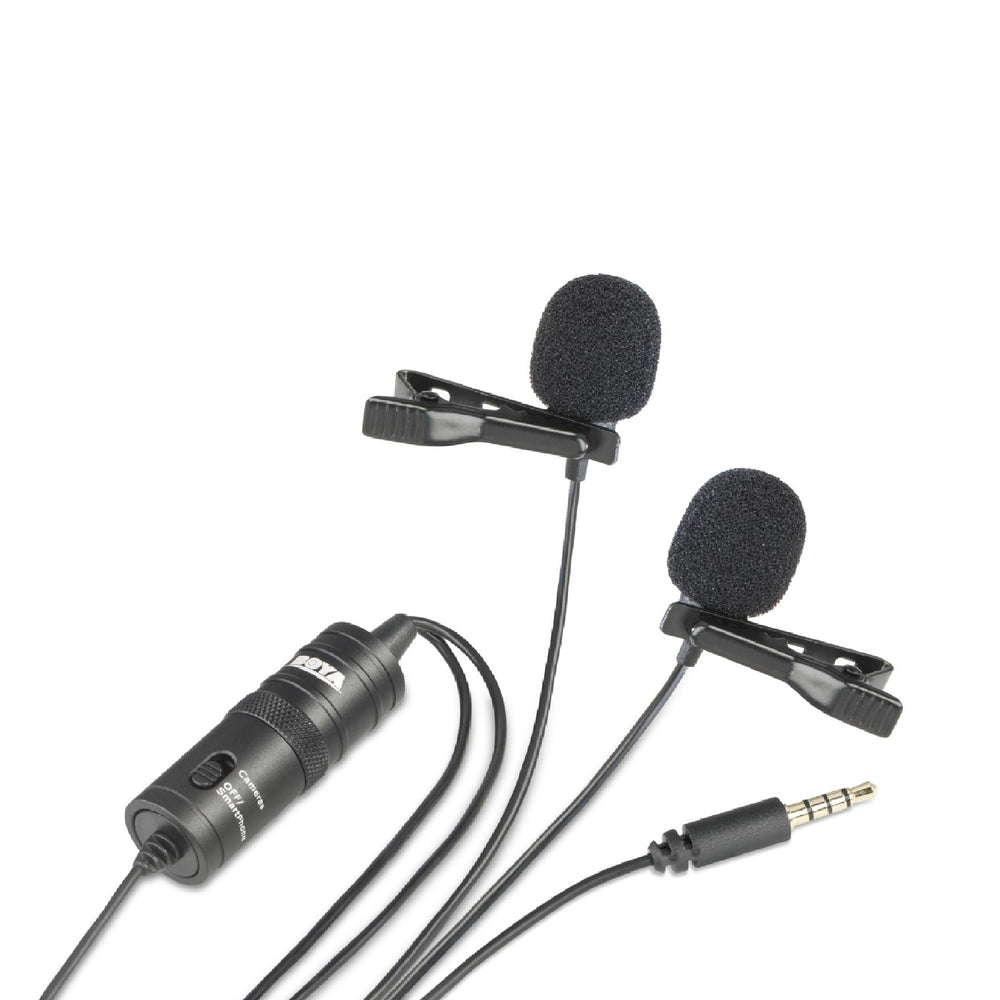 Boya BY-M1DM Dual Omni-directional Lavalier Microphone - Broadcast Lighting