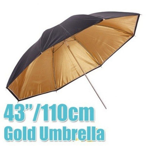 Black Gold Reflector 43 inch Umbrella - Broadcast Lighting