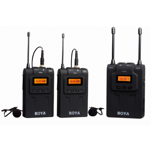 Boya BY-WM8 UHF Dual-Channel wireless microphone system - Broadcast Lighting