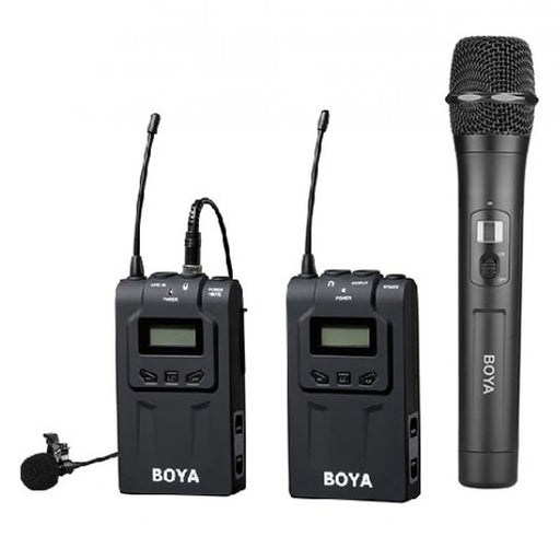 Boya UHF Wireless Handheld Transmitter Mic + Boya BY-WM6 UHF Lavalier Wireless Mic - Broadcast Lighting