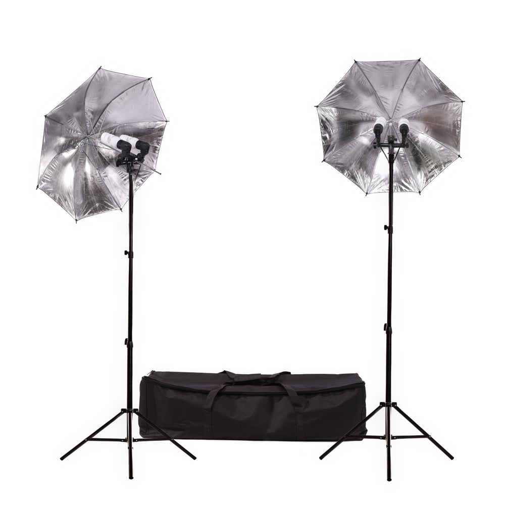 Fluorescent 180W Umbrella Dual Head Light Kit - Broadcast Lighting