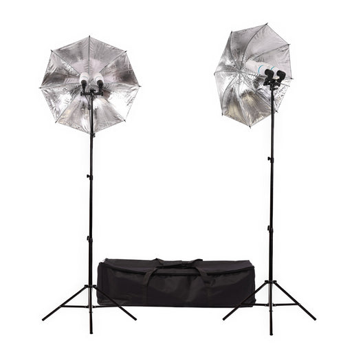 Fluorescent 340W Umbrella Dual Head Light Kit - Broadcast Lighting