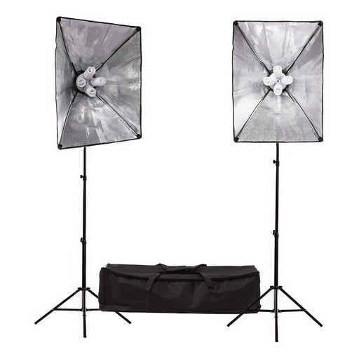 Fluorescent 360W Softbox Four Head Light Kit - Broadcast Lighting