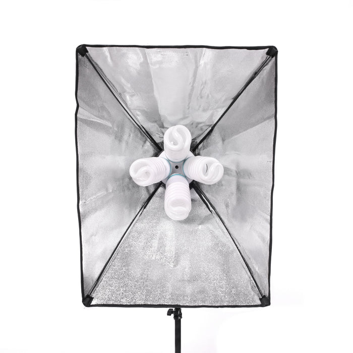 Fluorescent 680W Softbox Four Head Light Kit - Broadcast Lighting