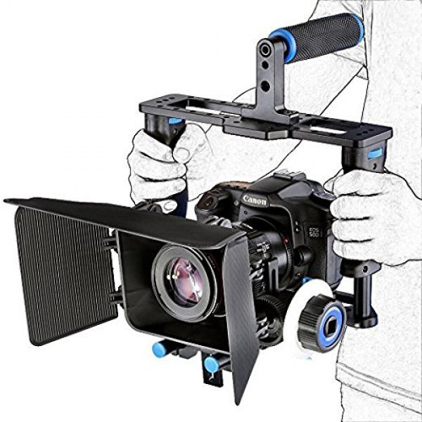Yelangu Camera Cage with Matte Box, Follow Focus and Top Handle Grip - Broadcast Lighting