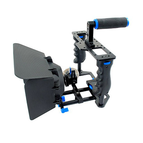 Yelangu Camera Cage with Matte Box, Follow Focus and Top Handle Grip