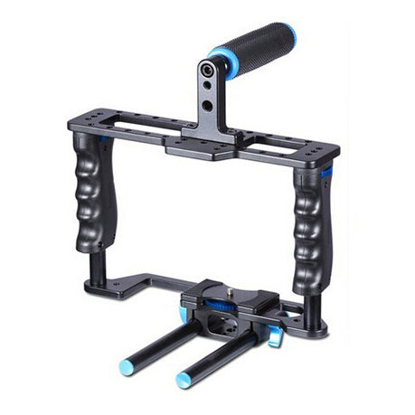 Yelangu Professional DSLR Camera Cage With Top Hand Grip - Broadcast Lighting