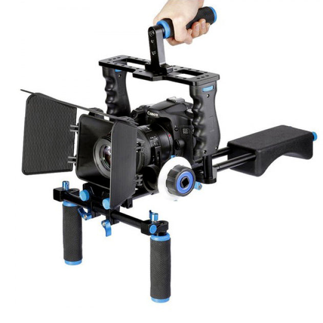 Yelangu Shoulder Rig with Camera Cage and Follow Focus Kit - Broadcast Lighting