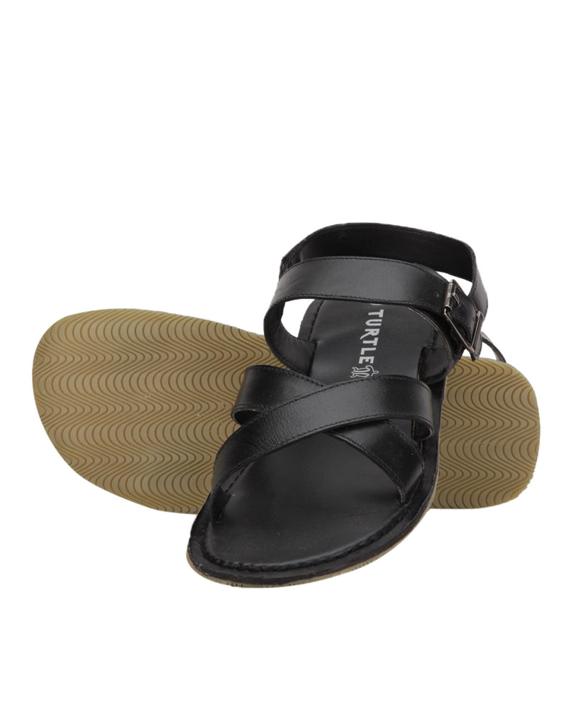 Turtle Men's Black Strappy Sandals