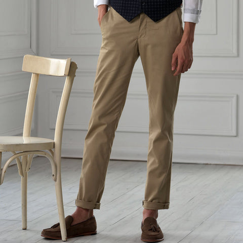 Turtle Khaki Structured Chinos With Stretch