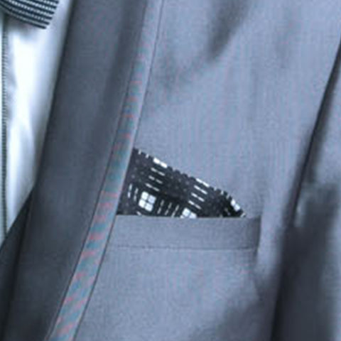 Turtle Black & White Checkered Pocket Square
