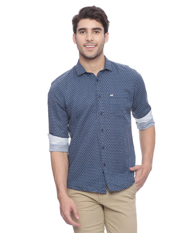 Turtle Navy Blue Printed Cotton Linen Casual Shirt