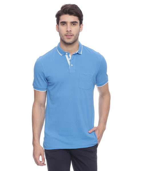 Turtle Solid Blue Polo Neck T-shirt