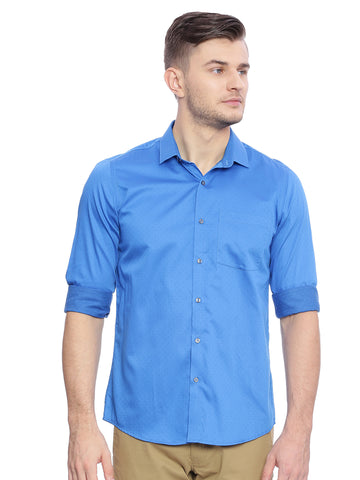 Turtle Blue Structured Formal Shirt
