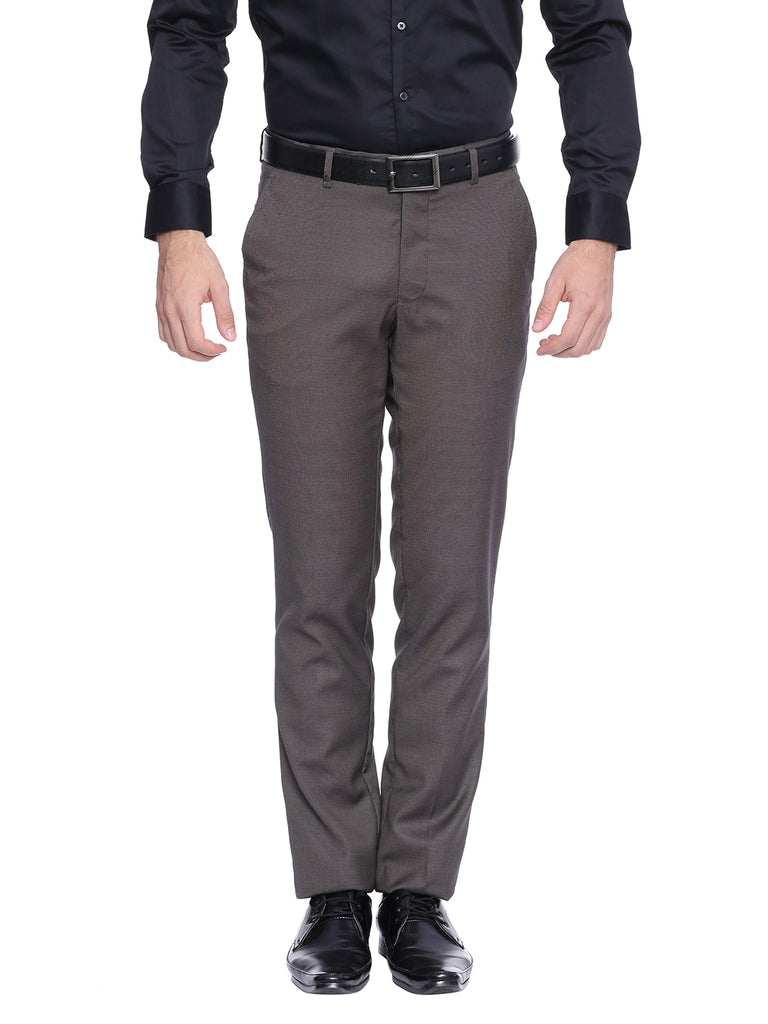 Turtle Solid Brown Slim Fit Formal Trouser