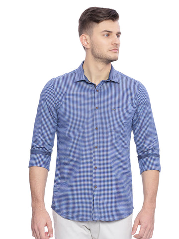 Navy Blue Casual Shirt With Gingham Checks