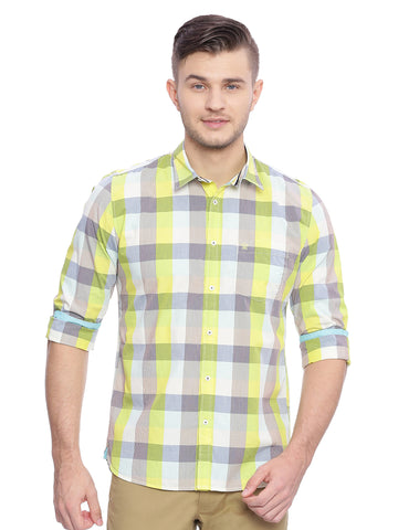 Slim Fit Casual Shirt With Multicolor Madras Checks