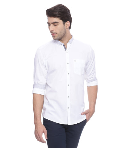 Solid White Structured Casual Shirt With Elbow Patches