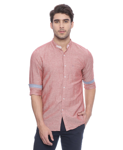 Turtle Red Cotton Linen Casual Shirt