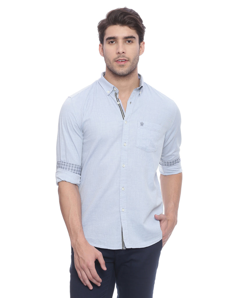 Turtle Blue Casual Shirt With Elbow Patches
