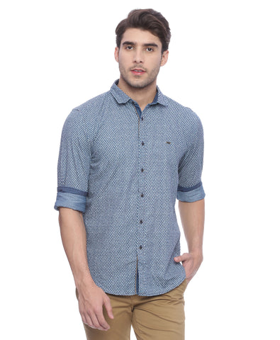 Turtle Navy Blue Printed Casual Shirt