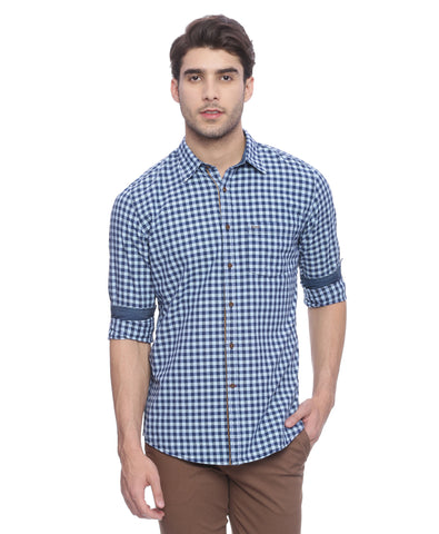 Turtle Blue Casual Shirt With Gingham Checks