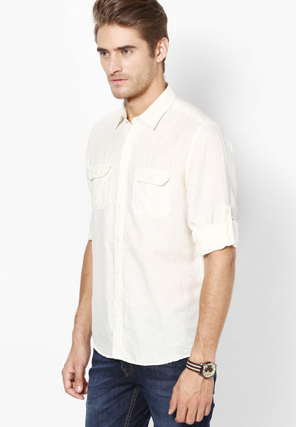 Cream Colored Cotton Linen Casual Shirt With Rolled-up Sleeves