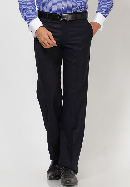 Turtle Men's Navy Blue Solid Slim Fit Formal Trouser