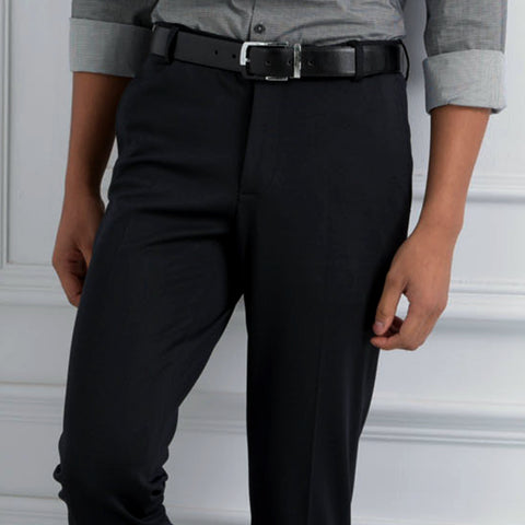 Turtle Black Structured Formal Trouser
