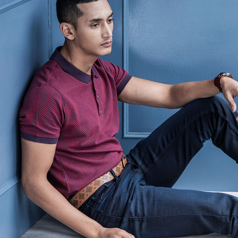 Turtle Maroon Structured Polo Neck T-shirt