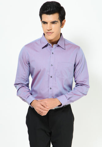 Turtle Men's Purple Two-Tone Solid Slim Fit Formal Shirt