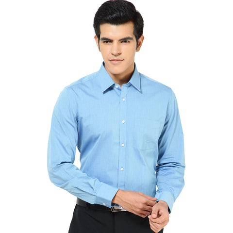 Blue Two-Tone Solid Formal Shirt