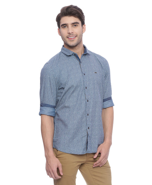 Navy Blue Quirky Print Casual Shirt