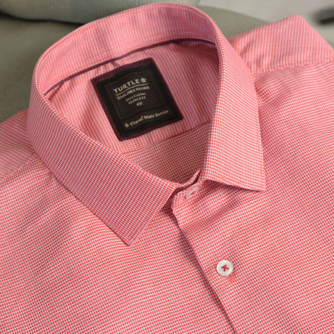 Turtle Red Formal Shirt With Micro Checks