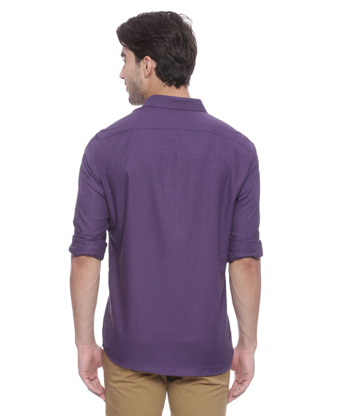 Purple Structured Formal Shirt