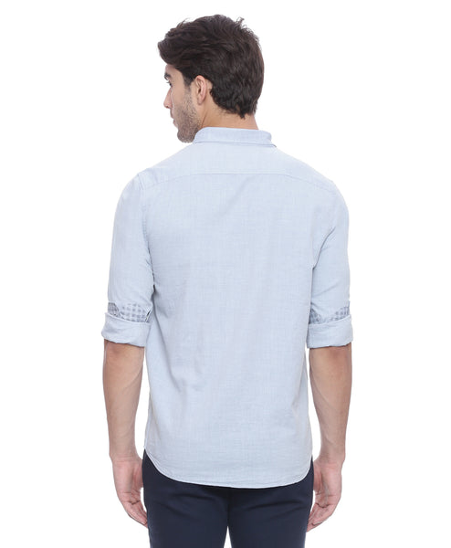 Powder Blue Casual Shirt With Designer Elbow Patches