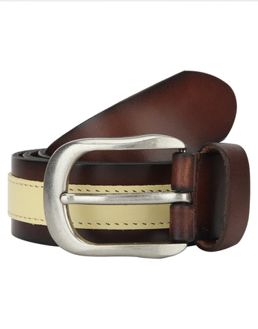 Turtle Brown & Beige Designer Leather Belt