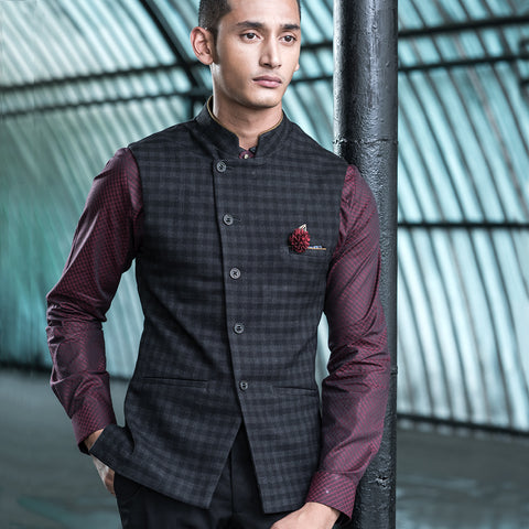 Turtle Men's Dark Grey Checkered Nehru Jacket