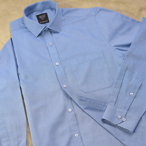 Blue Fine Structured Taped Formal Shirt