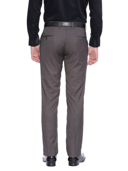 Solid Fil-a-fil Brown Formal Trouser