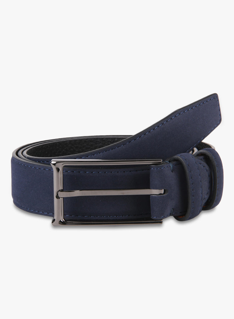 Turtle Navy Blue Suede Leather Belt